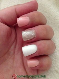 Pink, Glitter and White Acrylic Nails! This would match my hc dress so well! - In the article: Natural-like long nails Pink Glitter Nails, White Acrylic Nails, White Nails, White Glitter, Gorgeous Nails, Love Nails, How To Do Nails, Fancy Nails, Cute Nail Designs