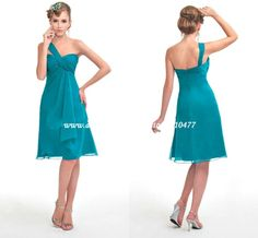 FB065 One Shoulder Sweetheart A line Knee length Turquoise Bridesmaid Dresses-in Bridesmaid Dresses from Apparel & Accessories on Aliexpress.com
