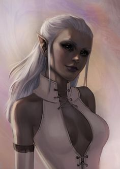 f Drow Elf Warlock portrait