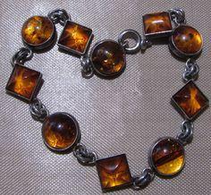 Amber Sterling Silver Bracelet Honey Color Natural Baltic Amber Stones.