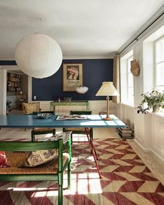 Photo 6 of 13 in Feast Your Eyes on 'The Apartment,' a Hybrid Gallery… Dining Room, Pendant Lighting Home Interior, Interior And Exterior, Exterior Design, Deco Boheme Chic, Colorful Apartment, The Apartment, Decoration Chic, Light Hardwood Floors, Living Spaces