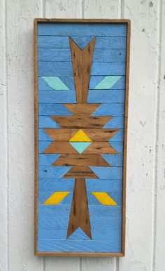 Reclaimed Wood Wall Art, Wood Wall Art, Blue, Wood Wall Decor, Southwestern Design, by PastReclaimed on Etsy
