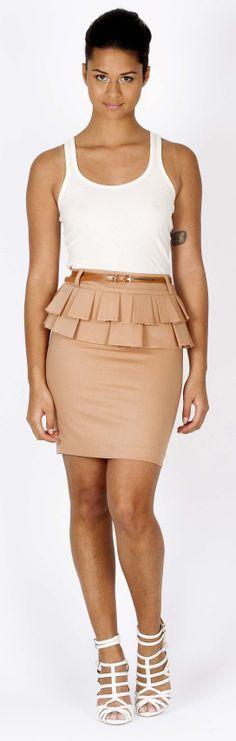 Peplum Nude Skirt