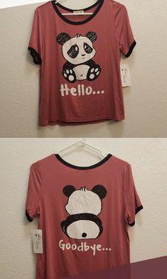 "Shop Women's size XL Crop Tops at a discounted price at Poshmark. Description: Panda t-shirt ""Hello"" front ""Goodbye"" back. Brand new never used. Panda Birthday Party, Panda Party, Panda Love, Cute Panda, Panda Outfit, Ashley Clothes, Panda Drawing, Panda Shirt, Panda Wallpapers"