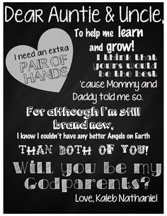 Letter for Godparents, baptism, request, Will you be my Godparents?, chalkboard