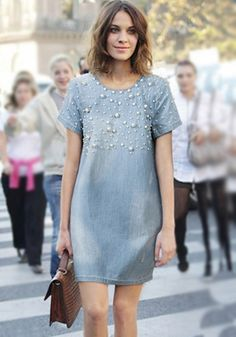 Stylish Scoop Neck Short Sleeve Beaded Denim Dress For Women Casual Dresses, Fashion Dresses, Short Sleeve Dresses, Summer Dresses, Denim Dresses, Outfit Vestidos, Dress Skirt, Dress Up, Jeans Dress