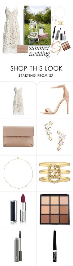 """""""Summer Wedding Party {Guest Look}"""" by shosho-mahmmod ❤ liked on Polyvore featuring Sans Souci, Charlotte Russe, MANGO, Nadri, Loren Stewart, Gucci, Givenchy, Morphe, MAC Cosmetics and Rimmel"""