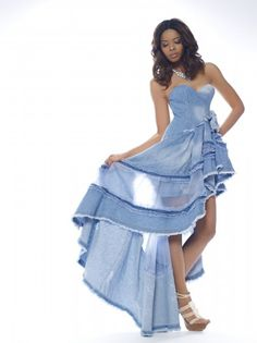 Vanessa Simmons in Ermanno Denim Dress