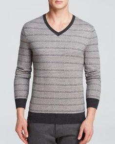 The Men's Store at Bloomingdale's Merino Stripe V-Neck Sweater | Bloomingdale's