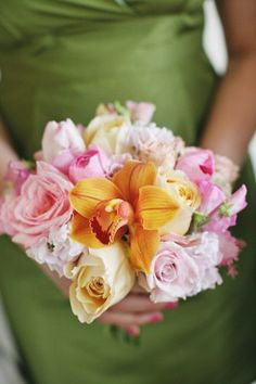 Orange Orchid and Pink Rose Bridesmaid Bouquet