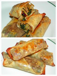 Broccoli Slaw, chopped mushrooms,Chopped onion and leek. Sauteed in chicken broth. Seasoned with a tsp of soy sauce, red pepper, dill, pinch of salt and pepper. Wrap all natural egg roll wrap baked with coconut oil for 12 minuets each side.