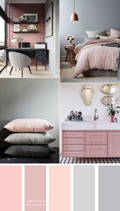 Pink and grey color scheme { 15 House Color Palette Ideas } Beautiful color palette of dark blue and orange colour combos. The perfect autumn colour palette for lifestyle project, home painting color, wedding or any party color theme etc. House Color Schemes Interior, House Color Palettes, Color Schemes Design, Bedroom Color Schemes, Grey Color Schemes, Colour Combinations Interior, Bathroom Colour Schemes Warm, Home Color Schemes, Grey Bedroom Colors