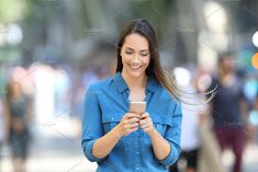 Ad: Happy woman writing message in a sm… by AntonioGuillem Photo on @creativemarket. Front view of a happy woman writing message in a smart phone on the street #creativemarket Technology Photos, Happy Women, Infographic, Branding, Blazer, Writing, Woman, Street, Phone