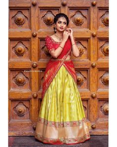 Image may contain: one or more people and people standing Lehenga Saree Design, Half Saree Lehenga, Lehnga Dress, Lehenga Designs, Bridal Lehenga, Lehanga Saree, Saree Gown, Indian Fashion Dresses, Indian Bridal Outfits