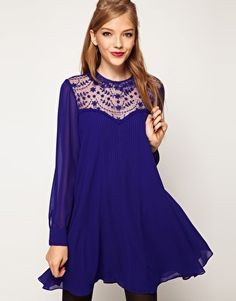 Swing Dress With Lace Insert And Peter Pan Collar