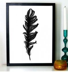 Black feather - Sofie Rolfsdotter #nordicdesigncollective #sofierolfsdotter #feather #feathers #blackfeather #illustrator