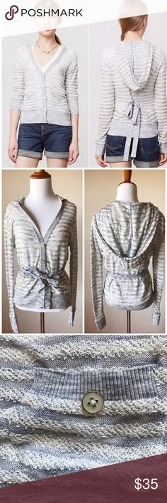 Anthropologie Moth Striped Lightweight Hoodie Excellent condition, there may be a few loose threads due to nature of the material • Snug fit so would work for smaller sizes Anthropologie Sweaters