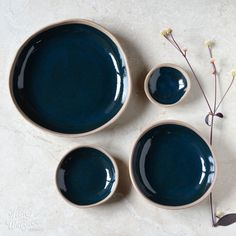 Pebble bowls by Kim Wallace Ceramics ~ deep indigo on natural