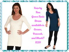 Tees by Tina Groove Tunic Dress:  Classic/ Contemporary Fit  Dress or Tunic? You be the judge! They've designed their Groove Tunic Dress to be amazingly versatile, ultra-comfortable, and figure flattering. Scrunch with leggings as a tunic or smooth as a dress! Aren't options great?   Stays perfectly in place! Wear shorter or longer depending on your outfit   One size fits most (really!)  Ultra-comfortable fit wear after wear  92% Nylon, 8% Spandex  Made in the USA