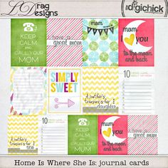 Home Is Where She Is: journal cards