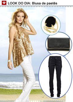 Look do dia para inspirar o feriado: blusa de paetês para você arrasar na balada! Para deixar a produção noturna, calça preta, clutch e anéis de acordo! Gostaram?