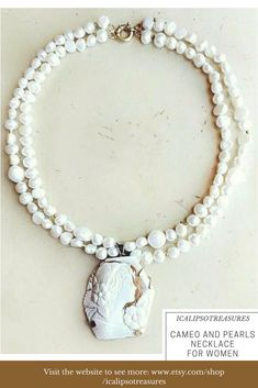 Cameo and pearls necklace with gold plated sterling silver details suitable for stylish women. It is a perfect anniversary, birthday or Valentines gift for wife or mom. Visit the website to see more.
