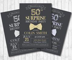 Bowtie Birthday Invitation for Men Surprise by funkymushrooms