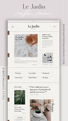 The Jardin Showit Website Templates are not only stylish and sophisticated designs for your website but also requires no coding knowledge. This website template includes 16 creative pages that can be easily customized by changing colors, images and text to reflect your brand. Check out the Demo View at shopsaffronavenue.com. #showit #WebsiteTemplate #website #Design Creative Business, Business Tips, Website Design Layout, Website Themes, Social Media Template, Fashion Branding, Website Template, Simple Designs, Branding Design