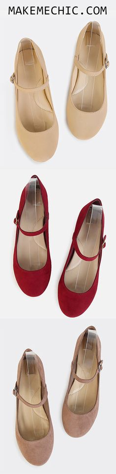 Mary Jane Suede Flats