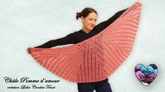"""Concours !!! Châle """"Pomme d'amour"""" demi lune Crochet """"Lidia Crochet Tricot"""" Lidia Crochet Tricot, Crochet Shawl, Poncho Shawl, Crochet Patterns, Tote Bag, Knitting, How To Wear, Youtube, Fashion"""