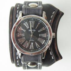 handmade jewellery, watch, wrist watch, leather watch, unique watch, style watch, steampunk watch, gothic watch, black watch, cuff watch, PUA watch, watch cuff, leather cuff,