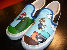 Custom Hand Painted Shoes - Mario and Luigi from RyTee on Etsy. Saved to Shoes ^-^ . Painted Canvas Shoes, Painted Vans, Painted Sneakers, Hand Painted Shoes, Ballerinas, Mario Und Luigi, Mario Bros, Vans Shoes, Shoes Sneakers