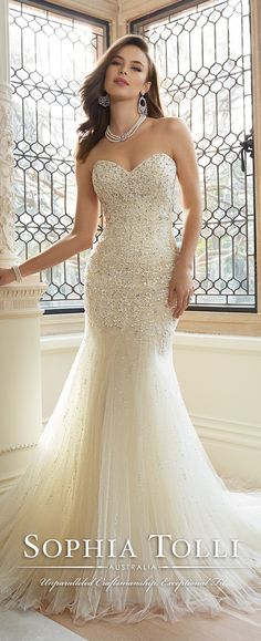 sophia tolli mermaid lace wedding dresses 2016 Y11625