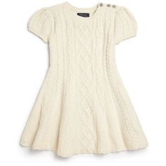Ralph Lauren Toddler's Little Girl's Aran Cable-Knit Dress ❤ liked on Polyvore featuring girls dresses