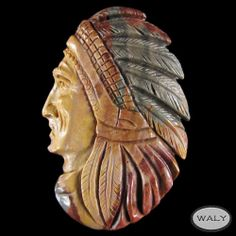 Carved XLarge American Indian Pendant Bead AD602034 | eBay