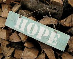 HaM / HOPE - nádej Wood with quote - sign
