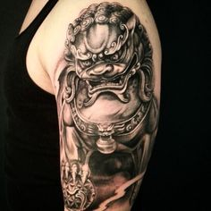 Statue of a Foo Dog Tattoo - http://giantfreakintattoo.com/statue-of-a-foo-dog-tattoo/