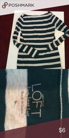 Loft M stripe top Teal and light grey top M LOFT Tops Tees - Long Sleeve