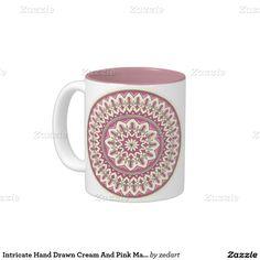 Intricate Hand Drawn Cream And Pink Mandala Two-Tone Coffee Mug