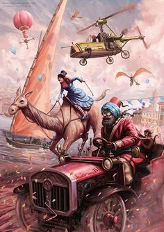 This madcap steampunk race is on! Who would you be rooting for to win? Illustration by Tom McGrath, http://spikedmcgrath.cgsociety.org/art/race-photoshop-steampunk-car-great-1689766