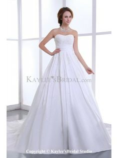 Satin Strapless Neckline Cathedral Train A-Line Wedding Dress with Beading and Pleat