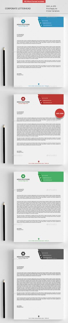 slim letterhead pad with ms word doc stationery print templates