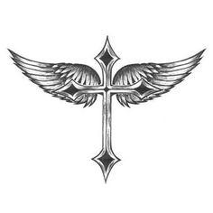 Tatouage croix avec ailes