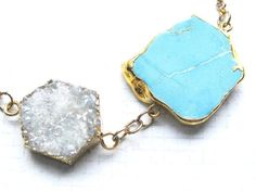 Turquoise and DRUZY Agate Geode AB Gold plated Necklace Glamorous