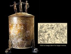 """The Ficoroni Cist (with illustration of detail);  from Praeneste; late 4th century BC; Engraved bronze; Height of cist approx. 21""""; Engraving reads from right to left & tells the story of the Argonauts in the Land of Bebrykes. Inscription says created by the Greek, Novios Plautios, for a Praenestan patroness. It is suggested it is a copy of a famous painting (now lost) by the Greek master Kydias."""