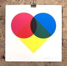 Geometrick heart by Patrick Thomas at Nelly duff 2d Design, Graphic Design, Geometric Heart, The Duff, Geometric Designs, Colorful Interiors, Circles, Screen Printing, Street Art