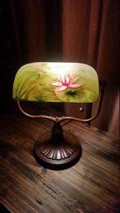 Beautiful amber and crimson red spattered torchiere lamp shade gorgeous vintage reverse painted bankers lamp aloadofball Images