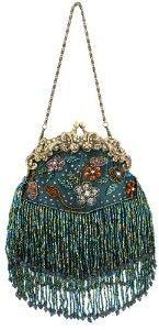 Vintage Flowers Seed Bead Flapper Clutch Evening Handbag