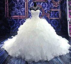 Neu Weiß/ivory Brautkleid Hochzeitskleid Ballkleid Gr 32 34 36 38 40 42 44 46++
