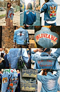 I would wear that…ebroidered denim jackets. – Bliss - Luxe Fashionably Ideas- New Trends - Luxe Fashionably Ideas- New Trends Denim Jacket Patches, Denim Jackets, Embroidered Denim Jacket, Denim Jacket Embroidery, Embroidery Patches, Diy Clothing, Mode Inspiration, Denim Fashion, Streetwear